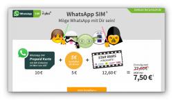 WhatsApp Simkarte mit 15€ Guthaben + Kinokarte für Star Wars für nur 7,50€ @Preis24