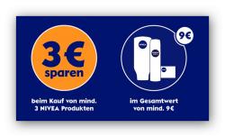 [Lokal & Online] 3€ Gutschein mit einem Mindesteinkaufswert von 9€ für Nivea Produkte @Nivea