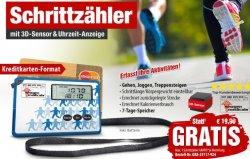 Schrittzähler mit 3D-Sensor und Uhr 0€ statt 19,90€ (zzgl Versand)