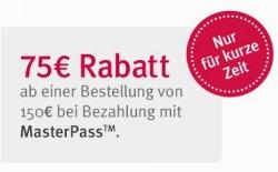 75€ Rabatt bei Zahlung mit Masterpass ab 150€ MBW @MyDays