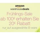 Amazon: 20 Euro Rabatt (ab 100 Euro MBW) auf ausgwählte Warehousedeals (über 150.000 Artikel)