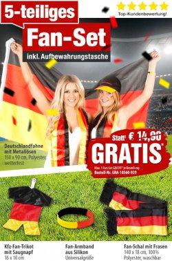 Gratis: 5 teiliges Deutschland  Fan-Set mit Aufbewahrungstasche ( nur Versandkosten ) statt 14,90€ @Pearl