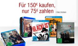 Serien und Filme auf DVD und Blu-ray für 150 € kaufen und nur 75 € zahlen @Amazon
