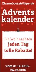 Notebooksbilliger Adventskalender: Täglich 3 Angebote im Türchen