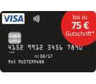Schwarze VISA Kreditkarte ohne Jahresgebühr + bis zu 75€ Gutschrift für Neukunden @Deutschland-Kreditkarte