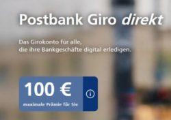Postbank Giro direkt Konto eröffnen und 100 Euro Prämie erhalten! Nur bis 28.02.2017