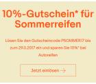 10% Rabatt auf alle Sommerreifen mit Gutscheincode bei Zahlung per PayPal @eBay