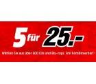 Media Markt: 5 Blu-rays oder CDs (frei kombinierbar) für nur 25 Euro