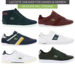 Outlet46: Lacoste Sneaker für Damen und Herren ab 39,99 Euro statt 74,99 Euro bei Idealo