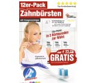 @pearl: Gratis dazubestellen oder einzeln nur mit Versandkosten newgen medicals 12er-Pack Marken-Zahnbürsten mit Zungenreiniger, MEDIUM, 4 Farben