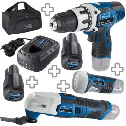 Scheppach Akku-Werkzeug Lion Set 1 mit Akkuschrauber + Multitool + Lampe + 2x Akkus + Ladegerät + Tasche für 63,90 € (129 € Idealo) @Scheppach