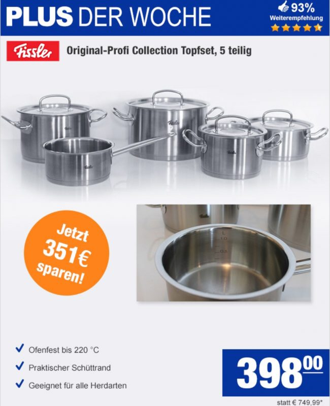 Plus 398 Statt 448 Fissler Original Profi Collection Topfset 5