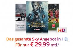 Sky Komplett mit Entertainment + Cinema, Sport und Bundesliga + HD + Sky Go + Sky+ HD Festplattenleihreceiver für 29,99 Euro monatlich statt 76,99 Euro