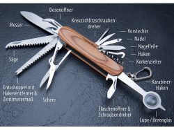 Pearl: 16in1-Multifunktions-Taschenmesser aus Edelstahl mit Echt-Holz-Griff kostenlos statt 19,90 Euro (nur 4,95 Euro Versandkosten bezahlen)