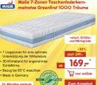 @netto: MALIE  Greenfirst 1000 7-Zonen Taschenfederkern-Matratze für nur 169€ (Idealo: 249€)