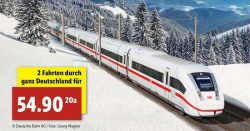 2 x Deutsche Bahn Fahrkarten (quer durch Deutschland) für 54,90€ @ Lidl Online & Filiale