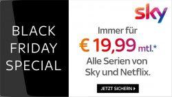 Jetzt für 12 statt 24 Monate Laufzeit: Sky Entertainment Plus inkl. HD-Option und Netflix HD und Sky Q Receiver dauerhaft für 19,99€ mtl. statt 32,99€