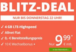 WinSim – Blitzdeal mit 4GB LTE + Allnet Flat + SMS Flat + 0€ Anschlusspreis monatlich kündbar für 9,99€ statt 19,98€ im Monat