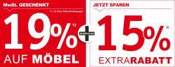 XXXLutz – 19% Mehrwertsteuer geschenkt + 15% Extrarabatt auf Möbel