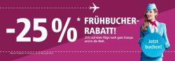 Eurowings: 25% Frühbucher-Rabatt für weltweite Flüge