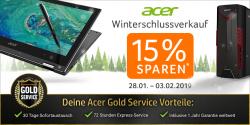 Notebooksbilliger: 15% Rabatt im Acer Winterschlussverkauf auf Notebooks und PCs mit Gutschein ohne MBW