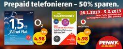 Penny: 50% Rabatt auf Prepaid Kartenguthaben für O2 und Vodafone