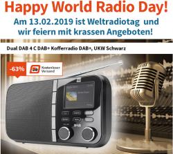 Digitalo: World Radio Day z.B. mit dem Dual DAB 4 C DAB+ Kofferradio für nur 29,99 Euro statt 39,90 Euro bei Idealo