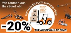 Fuxtec – 20% Rabatt auf ausgewählte Gartengeräte in der Lagerräumung durch Gutscheincode (kein MBW)