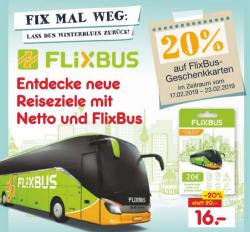 Lokal Netto – 20% Rabatt auf die 20 € FlixBus Geschenkkarte