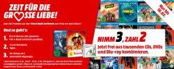 Nimm 3 Zahl 2 auf tausende CDs, DVDs und Blu-rays @MediaMarkt & Amazon