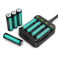 Amazon – RAVPower RP-BC015 Ladegerät inkl. 8x AA Akkus durch Gutscheincode für 15,99€ statt 19,99€