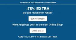 (Filiale) 75% Rabatt auf reduzierte Sale-Ware @C&A