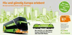 FlixBus / FlixTrain Europa-Ticket für 9,99€ @Aldi Süd
