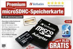 Gratis Verbatim 32GB micro SD Karte (+4,90€ Versand) [Idealo: 5,29€] @pearl.de