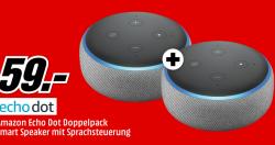 2 Stück Amazon Echo Dot 3. Gen. Smart Speaker mit Sprachsteuerung für 59 € (77,40 € Idealo) @Media-Markt