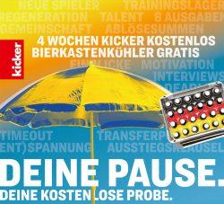4 Ausgaben Kicker Sportmagazin + BierkastenKühler gratis ( kein Abo )