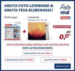 @real: Gutscheine für Gratis Fotoleinwand 20 x 20 cm und weitere….