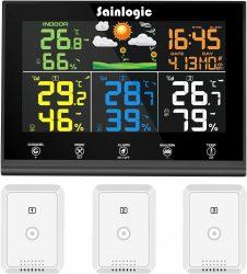 Amazon: Sainlogic WLAN Funk Wetterstation mit 3 Außensensoren, Wettervorhersage und Farbdisplay mit Gutschein für nur 34,99 Euro statt 69,99 Euro
