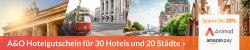 Amazon: 20% Rabatt mit Gutschein auf A&O Hotelgutschein für 30 Hotels und 20 Städte