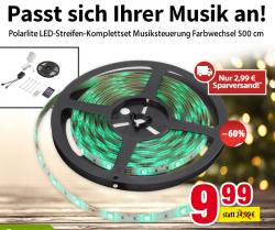 Voelkner: Polarlite LED-Streifen-Komplettset Musiksteuerung Farbwechsel für nur 12,98 Euro statt 21,98 Euro bei Idealo
