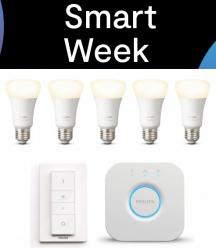 Smart Week @Tink z.B. Philips Hue White Starter Kit E27 mit 5 Lampen + Bridge + Dimmschalter für 84,95 € (101,59 € Idealo)