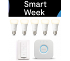 Smart Week @Tink z.B. Philips Hue White Starter Kit E27 mit 5 Lampen + Bridge + Dimmschalter für 84,95 € (101,59 € Idealo)