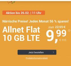 Winsim: 9,99€ statt 22€ für 10GB LTE Flat Telefon, SMS, EU Ausland nur bis 26.02.20 monatlich kündbar