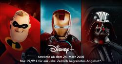 Neuer Streamingdienst Disney + mit Frühbucherrabatt für das Jahresabo jetzt nur 59,99 Euro statt 69,99 Euro