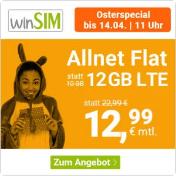 winSIM 12GB Datenvolumen, Allnet- und SMS-Flat – monatlich kündbar für nur 12,99 Euro statt 22,99 Euro