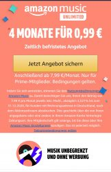 Amazon Music Unlimited 4 Monate für 0.99 Cent