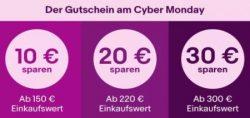 Ebay: Nur heute zum Cyber Monday bis zu 30 Euro Rabatt mit Gutschein je nach MBW