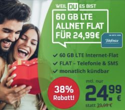 mobilcomdebitel: nur 2 Tage! 60GB monatl.kündbar 24,99€ statt 39,99€ / Anschluss 9,99 statt 39,99
