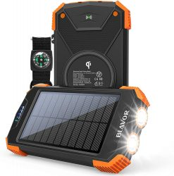 Amazon: BLAVOR PN-W05 10000mAh Solar Power Bank mit QI Wireless Charger mit Gutschein für nur 16,99 Euro statt 33,99 Euro