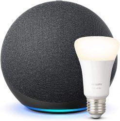 Amazon: Der neue Echo (4. Generation) + Philips Hue White LED-Lampe für nur 79,99 Euro statt 93,98 Euro bei Idealo